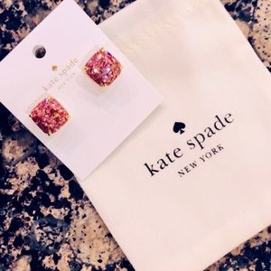 Kate Spade 12K Gold Plated Glitter Square Studs